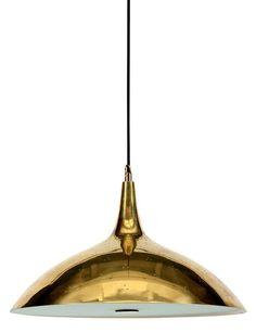 PAAVO TYNELL Lampe modèle «J1965» Laiton perforé et verre Édition Idman