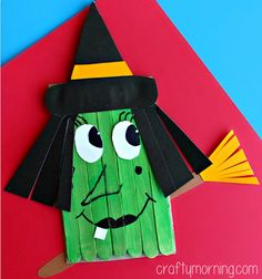 Learn how to make a cute popsicle stick witch craft for kids! All you need is paper, popsicle sticks, markers, and glue! Fun Halloween art projects for them to do.