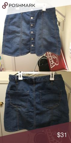 Denim skirt a-line denim skirt!!! never worn!!! super cute and trendy just wayyyy to big for me!!! not actually urban just listed for exposure Urban Outfitters Skirts