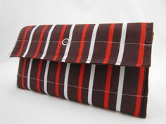 Brown Striped Quilted Tri-Fold Wallet via Etsy