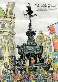 Illustration by Tommy Kane – Piccadilly Circus, London