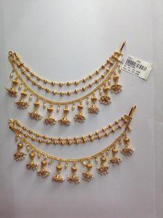 Muthyala Matilu – boutiquedesignerjewellery.com Jewelry Design Earrings, Gold Earrings Designs, Indian Bridal Jewelry Sets, Gold Temple Jewellery, Antique Jewellery Designs, Gold Bangles Design, Gold Jewelry Simple, Ear Chain, Ear Rings