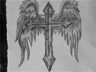 cross with wings tatto to use as my memorial tattoo