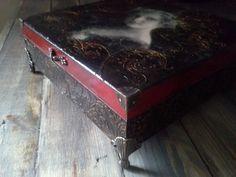 Decoupage Box, Tea box, Jewelry Storage Box, Victorian box, Vintage Box, Wooden decoupage,Black Box, wooden box, home decor, gothic box by agnieszkamalik on Etsy