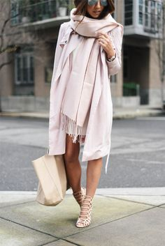 """kamila dmowska dress, french connection twill trench coast, steve madder """"slithur"""" sandal, topshop USA scarf. LOVE this whole look from head to toe"""