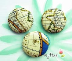 2 Inch Fabric Covered Buttons  Set of 3  The Earth by katejdthee, $6.00