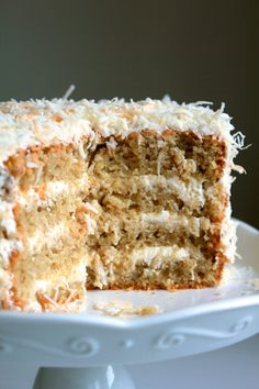 toasted coconut cake with coconut frosting