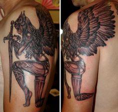 valkyrie black and grey vancouver port moody tattoo studio black rabbit tattoo christina christie Side Tattoos, Body Art Tattoos, Sleeve Tattoos, Cool Tattoos, Angel Warrior Tattoo, Warrior Tattoos, Images Viking, Valkyrie Tattoo, Vikings