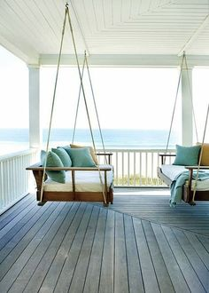 Could spend my whole life on a porch swing daybed with a view of the ocean. Outdoor Spaces, Outdoor Living, Decoration Design, Coastal Living, My Dream Home, Future House, Beautiful Homes, Beautiful Ocean, Interior And Exterior