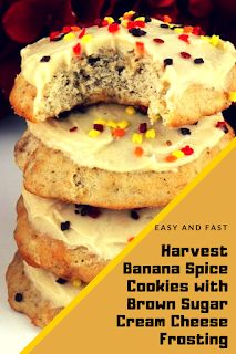 Easy and Fast Harvest Banana Spice Cookies with Brown Sugar Cream Cheese Frosting Easy Snacks, Easy Meals, Dessert Ideas, Dessert Recipes, Find Recipe, Brown Sugar Cookies, Beach Drinks, Spice Cookies, Party Desserts