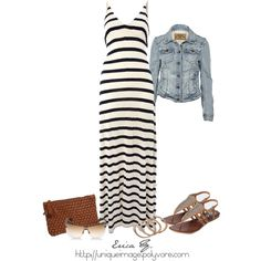 Striped Maxi Dress with my favorite item ever....a denim jacket