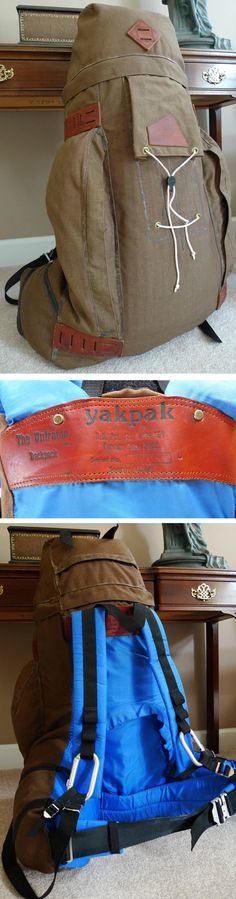 Vintage 1970's YakPak frameless canvas climbing rucksack. Yak Pak's most unique feature was an X-strap suspension in which the straps crossed each other across the torso and could slide. What this did was, if you reached an arm up to a climbing hold, the strap across the high shoulder could take up the slack from the strap across the low shoulder.