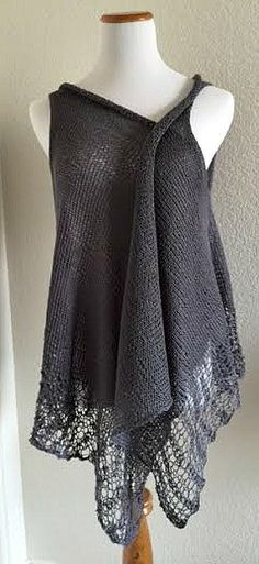 E L L O A wonderfully feminine vest featuring a lot of simple, yet intriguing details. There is a bit of lace, beautiful beads, an I cord edging and the sheer volume of this vest is just delicious! We                                                                                                                                                                                 More