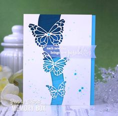 Memory Box Butterfly Swell card by Penny Ward. Simple Pleasures Rubber Stamps and Scrapbooking, Colorado Springs, CO