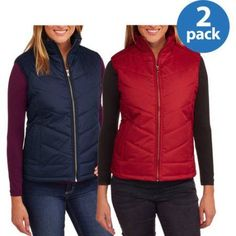 Climate Concepts Women;s Quilted Puffer Vest With Gold Zipper 2pk Value Bundle, Women's, Blue