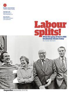 Guardian g2 cover: Labour splits! #editorialdesign #newspaperdesign #graphicdesign #design #theguardian