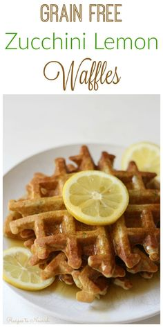 Grain Free Zucchini Lemon Waffles are a fun summertime breakfast. They're the perfect blend of savory and sweet, super easy to make and a delicious way to use up summer squash. | Recipes to Nourish | Gluten-free waffles | Grain free waffles | Gluten-free breakfast recipes | Grain-free breakfast recipes | Real food recipes | healthy breakfast || #realfood #glutenfreebreakfast