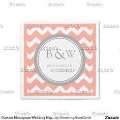 Custom Monogram Wedding Napkin Coral Grey Chevron