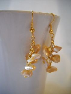 Gold Pearl Earrings Mother of Pearl Dangle by ThisNThatbyNikki,