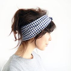 Tie Up Headscarf Navy and White Gingham by ChiChiDee on Etsy, £12.00