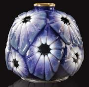 CAMILLE FAURE auction (1874-1956)~A RARE enamel on silver vase qith geometric patterns~Circa 7 in 1925