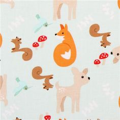 mint green forest animal fabric Riley Blake Good Natured deer fox squirrel