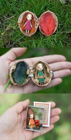 Adorable miniature wooden dolls in a nut We would like to thank you if you . - Adorable miniature wooden dolls in a nut We would like to thank you if you … – – - Miniature Crafts, Miniature Dolls, Walnut Shell Crafts, Diy And Crafts, Crafts For Kids, Tiny Dolls, Mini Things, Wooden Dolls, Felt Toys