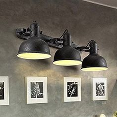 Lovedima Industrial Loft Metal Round Dome Shaded Retro Indoor Sconce with Adjustable Head (3-Light, Solid Black)