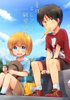 Eren and armin Eren X Armin, Eren And Mikasa, Black Butler Anime, Manga Cute, Anime Child, Attack On Titan Levi, Kawaii, Cutest Thing Ever, Lol