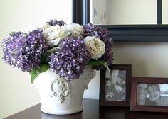 Silk Flower Arrangement - Lilac Hydrangeas in Large Cream Ceramic Vase via Etsy
