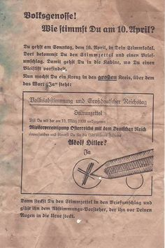 Very rare historical German propaganda leaflet that was distributed prior to the… Appeasement, Nazi Propaganda, Reunification, 13 March, The Third Reich, Educational Websites, European History, World War Ii, Ww2