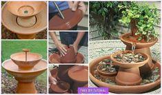 DIY TerraCotta Clay Pot Fountain Projects: Tabletop water fountain, garden flower pot fountain features