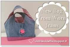 sewing tutorial for jeans bag ♥