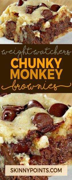 Chunky Monkey Brownies - Weight watchers Freestyle Smart Points Friendly