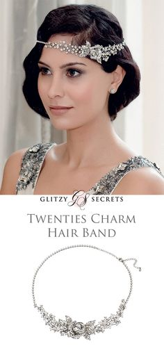 Embrace Twenties glamour with Glitzy Secrets Twenties Charm Hair Band.  Can be worn in forehead or alice band styles.