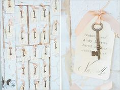 Vintage shabby chic wedding table Seating key and card