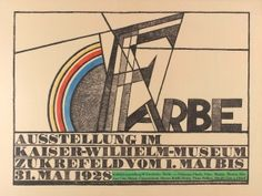 Farbe Exhibition Campendonk Kandinsky Picasso 1928 - original vintage art exhibition poster by Heinrich Campendonk listed on AntikBar.co.uk