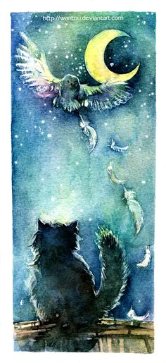 The owl and cat by *wantou on deviantART