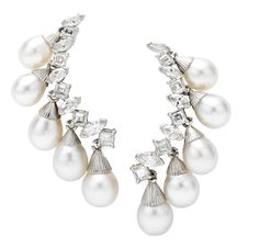 FD GALLERY   Rare & Vintage   A Pair of Sterle Cultured Pearl and Diamond Ear Pendants, by Sterle, circa 1950