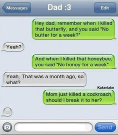 ifunny | funny-text-message-mom-dad_zpsdec6d962 photo funny-text-message-mom ... Funny Texts Jokes, Text Jokes, Funny Text Fails, Funny Couples Texts, Funny Text Posts, Parent Text Fails, Couple Texts, Humor Texts, Funny Texts From Parents