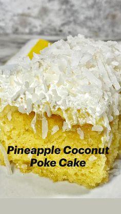 Poke Cake Recipes, Cupcake Recipes, Dessert Recipes, Pineapple Desserts, Pineapple Coconut, Coconut Poke Cakes, Banana Split Dessert, Delicious Desserts, Yummy Food
