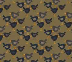 Whimsical Prim Crows fabric by cherie on Spoonflower - custom fabric