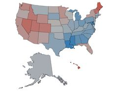 The Happiest States - Shades of Red Indicate Happiness, Blue Indicates Sadder States
