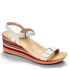 Vionic Enisa Leather White Sandals - HappyFeet.com
