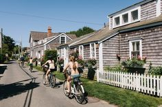 Cycling around Nantucket is a warm-weather rite for the young and not-so-young. Pictured here is Siasconset (known locally as 'Sconset), home to a series of tiny, quirky cottages.