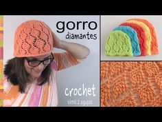 Gorros en punto diamante tejidos a crochet símil 2 agujas / Tejiendo Perú - YouTube