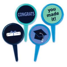 Round Graduation Themed Cupcake Toppers Picks