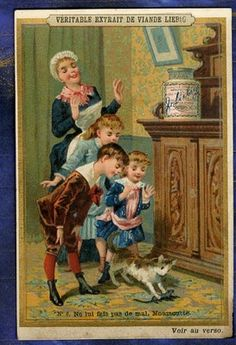 CHROMO LIEBIG S 216 CHAT SOURIS ENFANTS NOUNOU 1888 VICTORIAN TRADE CARD