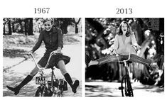 Twiggy by Ronald Traeger for British Vogue, 1967 and Dree Hemingway by Bruce Weber, Vogue, June 2013.