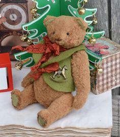 Купить мишка тедди Новогодний - коричневый, мишка тедди, мишка ручной работы, тедди медведи